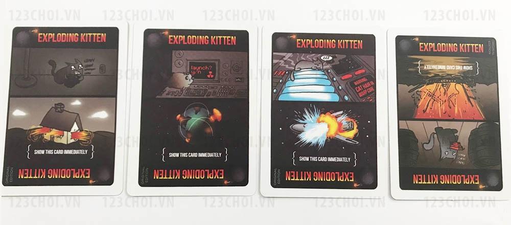 Thẻ bài Exploding Kittens trong bộ bài Mèo nổ