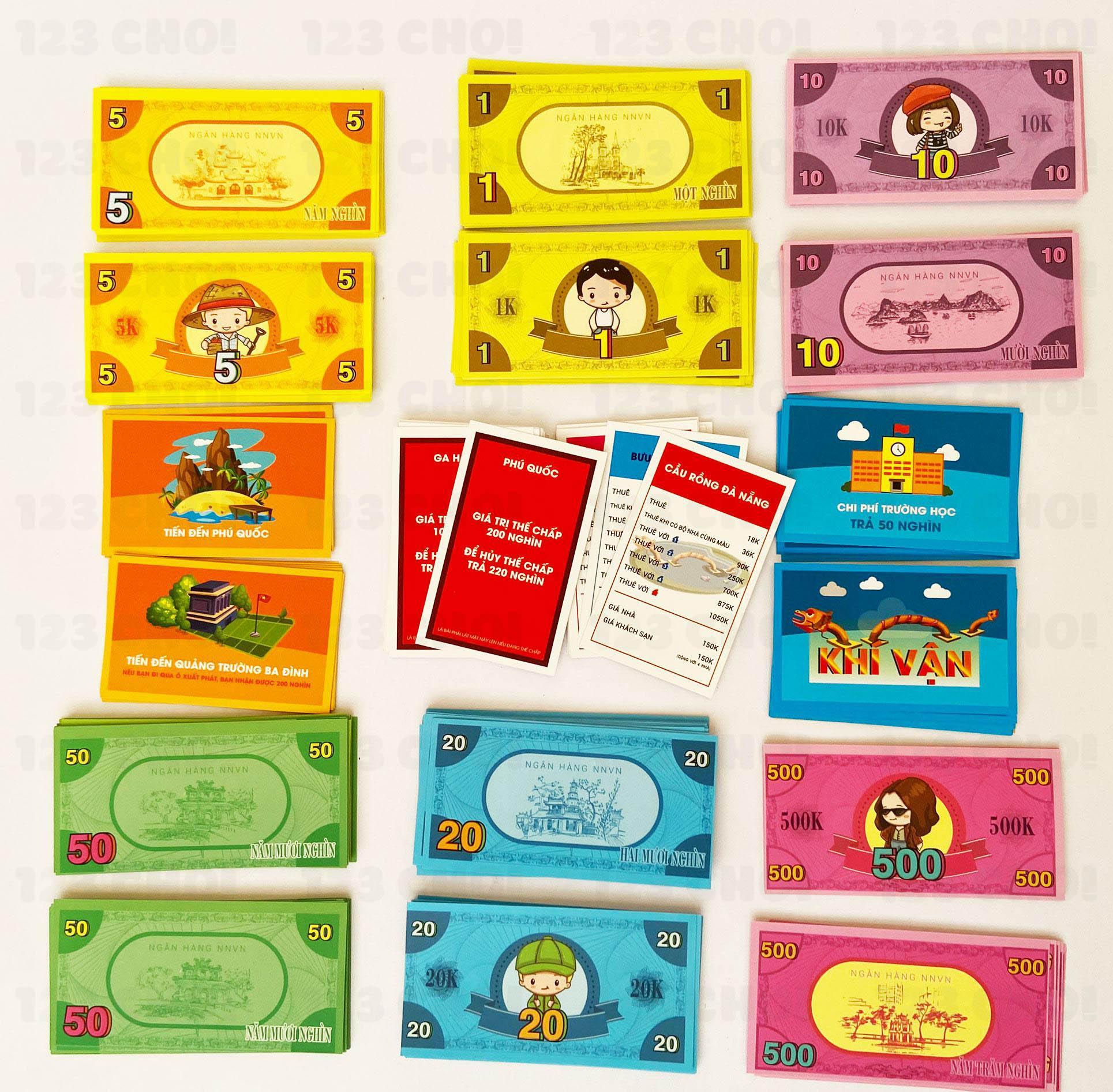 Các loại thẻ và tiền trong cờ tỷ phú