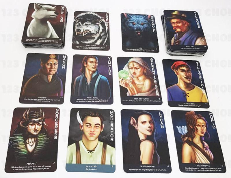 Các thẻ bài có trong bộ trò chơi Ma Sói